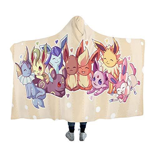 MEW Anime Hooded Blanket for Poke-mon Fans,Eevee Evolutions,Arctic Velvet...