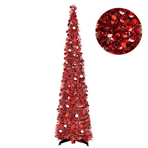 Lucoss Árbol de Navidad plegable con lentejuelas, 1,5 m, para decoración del hogar, apartamento y Navidad