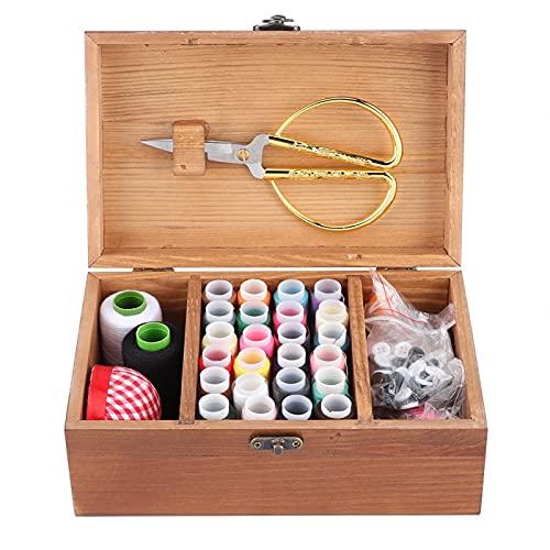 Socobeta Caja de coser en uso con materiales de madera de pino natural, accesorio de costura para el hogar adecuado para decoración de escritorio (caja de juego de diente de león, 12)