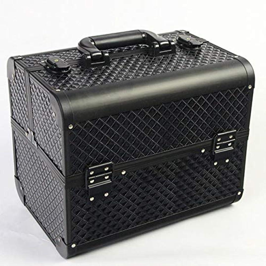 柔和ウイルス音節化粧箱、黒のパテントレザープロフェッショナル化粧品ケース - 化粧品バッグ多層ロック - 両開き化粧品ケース - 化粧収納ボックス(32cm *幅22cm *高さ26cm)