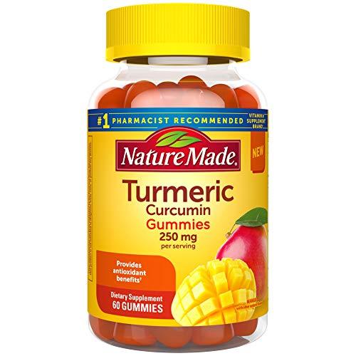 Nature Made Turmeric Curcumin Supplement Gummies, Antioxidant Benefits, Suitable for Vegetarians, Gluten Free, Mango, 60 Count