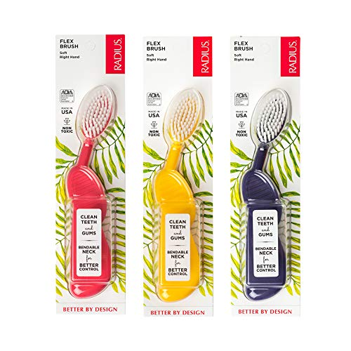 RADIUS Toothbrush Flex Brush Right Hand Soft Assorted Colors 3 Count | BPA Free and ADA Accepted | Designed to Clean Teeth and Reduce the Risk of Gum Disease