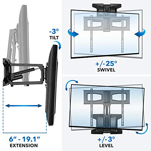 MOUNT-IT! Motorized Fireplace TV Wall Mount | Remote Control Electric Pull Down Mantel Mounting Bracket, Up to 77 Lbs Weight Capacity, Height Adjustable, Swivel, VESA 600x400 Compatible
