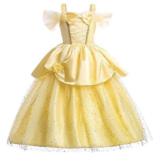 Vestito per Bambine, da Principessa Belle, Elegante, Multistrato, con Spalle Scoperte (3T)