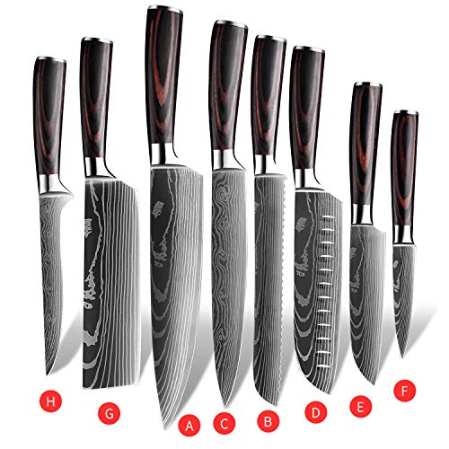 KEPEAK Kitchen Knife Sets 8 piece, 3.5-8 Inch Chef Knives High Carbon Stainless Steel, Pakkawood Handle, Ultra Sharp Cooking Knife for Vegetable Meat Fruit