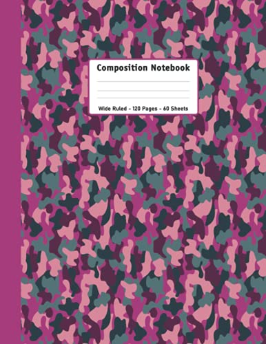 Composition Notebook Kawaii DARK Pink Camo Pink Stripe: Kawaii DARK Pink Camo Pink Stripe Wide Ruled Lined Paper Notebook Journal | 8.5 x 11 Size | ... Back to School and Home College Writing Notes