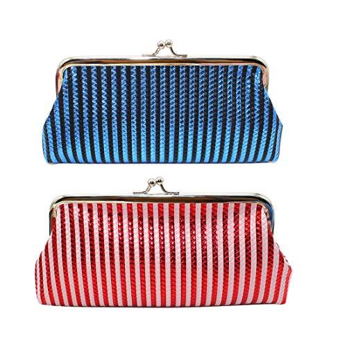 Oyachic 2 Piezas Monedero Grande Monedero Cambio Brillo Cartera de Embrague Coin Purse Mini Wallet Bolsa de Bloqueo de Beso con Cierre de Broche Bolsos de Las Señoras (2 Piezas Rojo+Azul)