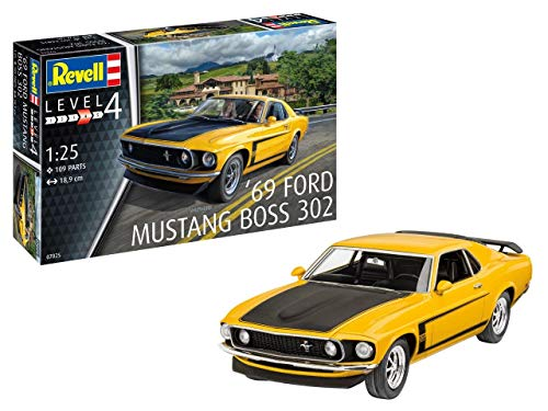 Revell 1969 Ford Mustang Boss 302, Automodellbausatz 1:25, 18,9cm REV-07025, unlackiert