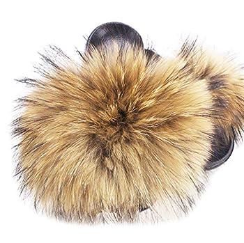 Adorllya Big Fur Slides Furry Slippers for Women Fuzzy FILP Flop Comfortable Fluffy Sandals for Women  Brown Numeric_9