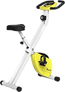 Doufit Exercise Bike Foldable for Home Use, EB-04 Quiet Folding Workout Bicycle, Adjustable Magnetic Stationary Exercise Bike with Pulse Sensor & LCD Monitor