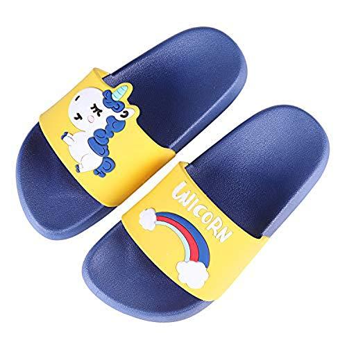 Ruiuzi Sandali Antiscivolo per Bambini e Bambine, con Unicorno, per Spiaggia, Estate, Doccia, Piscina (34/35 EU,Blue)