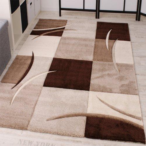 Paco Home Alfombra De Diseño Perfilado - A Cuadros - Marrón Beige, tamaño:160x230 cm