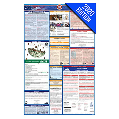VA Labor Law Poster, 2020 Edition - State, Federal and OSHA Compliant Laminated Poster (Virginia, English)