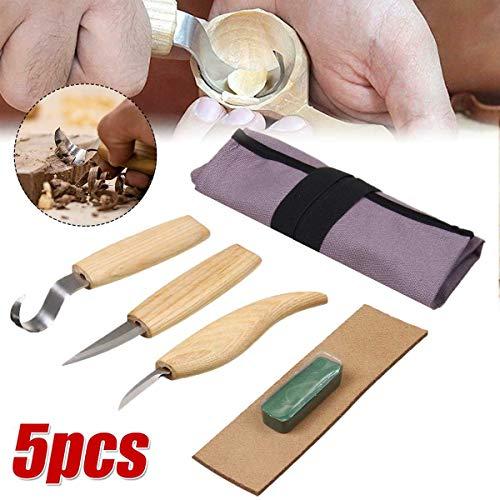 SISHUINIANHUA 5Pcs Holzschnitzerei Messer Meißel zum Holzschneider Handwerkzeug-Set Peeling Holzschnitzerei Skulpturale Löffel schnitzen Holzschnitt