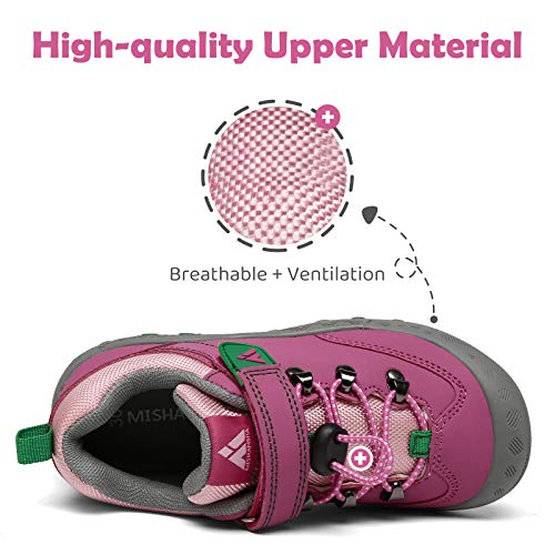Mishansha Zapatillas de Senderismo Niños Zapatos Montaña Niña Calzado Trekking Niñas Transpirable Rojo 33 EU
