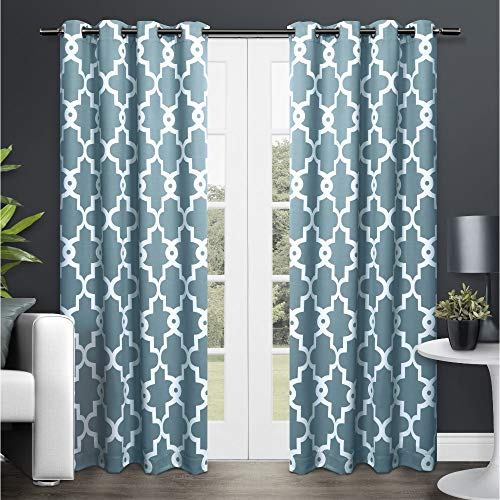 Exclusive Home Curtains EH8089-02 2-108G Ironwork Sateen Woven Blackout Grommet Top Curtain Panel Pair, 52x108, Teal, 2 Piece