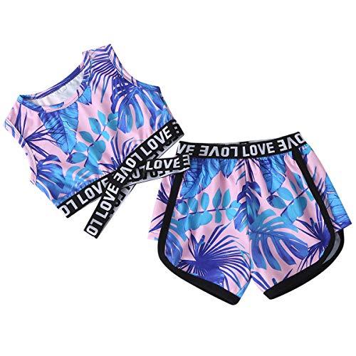 NCONCO Barn flicka kläder kläder kläder sommarlöv tryckta kläder set ärmlös väst shorts