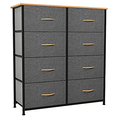 YITAHOME Dresser with 8 Drawers - Fabric Storage Tower, Organizer Unit for Bedroom, Living Room, Hallway, Closets & Nursery - Sturdy Steel Frame, Wooden Top & Easy Pull Fabric Bins