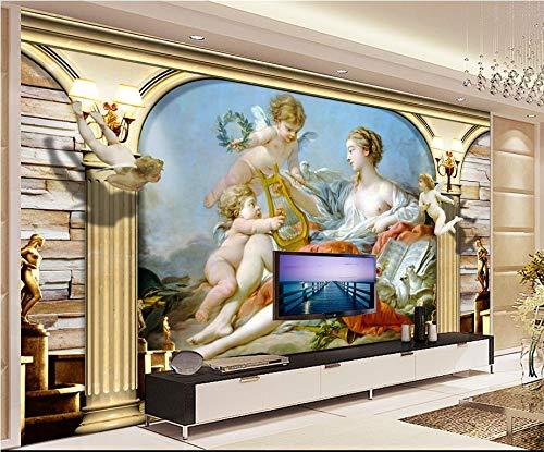 Yonthy 3D Mural papel pintado Etiqueta de la pared roma columna querubín María pintura sofá TV fondo Dormitorio Sala de estar Decoracion 350cmX270cm|137.79(in) X106.29(in)