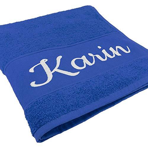 Handtuch mit Namen oder Wunschtext Bestickt, personalisiertes Duschtuch, individuelles Badetuch, 100{bfa47f4c9a0cf2de2285e42b69cc463dc1ffc5d54e006709ec7e0ebd4e28bb33} Baumwolle, 180 x 100 cm, Royalblau