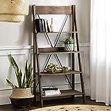 Walker Edison X Back Modern Farmhouse Wood Bookcase Bookshelf Home Office Living Room Storage, 4 Shelves, Brown
