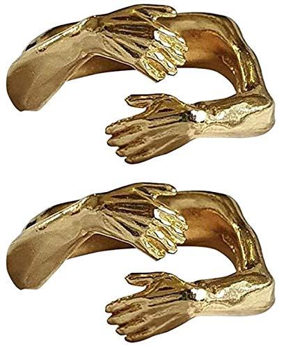 ZYW 2 pares de anillos para abrazar, anillo de aleación ajustable, para hombres y mujeres, para San Valentín, cumpleaños, dorado