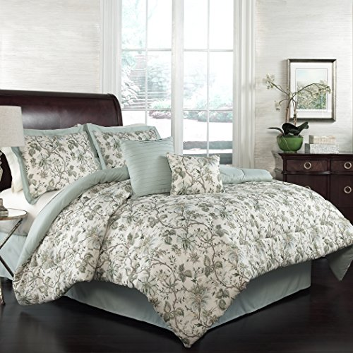Traditions by Waverly 15224BEDDKNGMNR Felicite 104-Inch by 88-Inch 6-Piece King Comforter Collection, Mineral