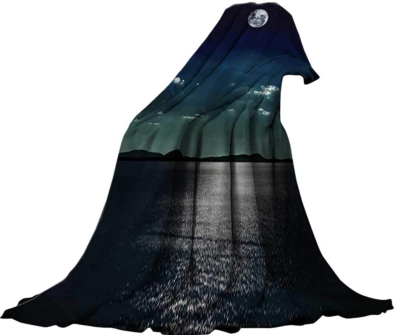 QINYAN-Home Warm Microfiber All Season Blanket (70 x60 ) Summer Quilt Comforter Ocean Decor Full Moon Reflected in The Sea Moonlight Surface Starry Sky Night Scenic View Black and Navy.