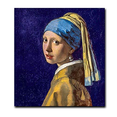 Tiiiytu Holanda Johannes Chica con un pendiente de perla Pintura al óleo Póster Arte de la pared Cuadro de la lona Sala de estar Decoración para el hogar-60x60cm Sin marco