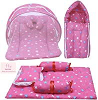 Infantbond Combo of Baby Mattress with Net   Sleeping Bag   4 Pcs Bedding Set(0-6 Months) (Star Pink)