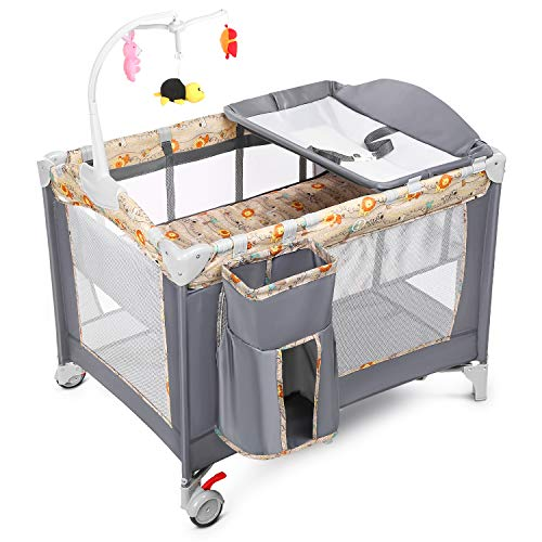 Welspo Baby Playard, 3 in 1 Foldable Nursery Center Playpen with Bassinet Changing Table, Portable Kids Travel Playpen w/Large Capacity Diaper Storage Basket, Whirling Toys, Wheels & Brake, Carry Bag