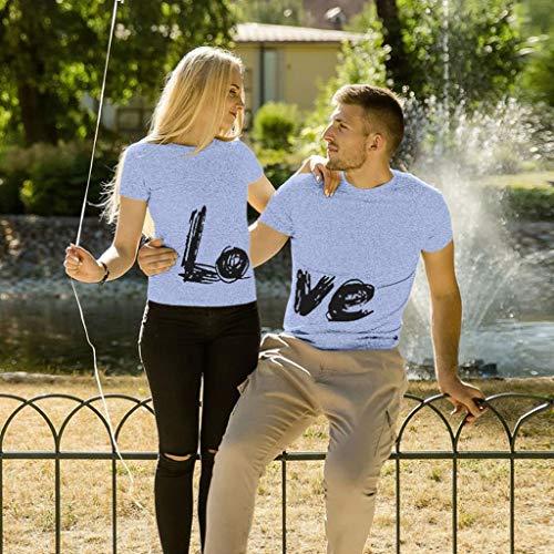 Hauts pour Femme T-Shirt Col Rond Homme T-Shirt Imprimé Homme L.O.V.E T-Shirt Couple Amoureux pour 2 T-Shirt Décontracté à Manches Courtes Chemise Ample Femme Top Simple