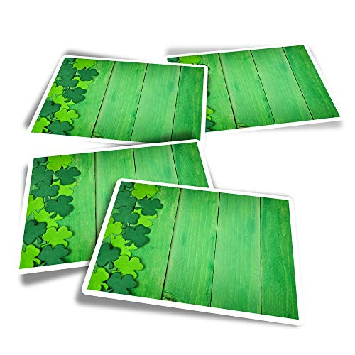 Vinyl Rectangle Stickers (Set of 4) - Green Ireland Irish Clover Lucky Fun Decals for Laptops,Tablets,Luggage,Scrap Booking,Fridges #14854