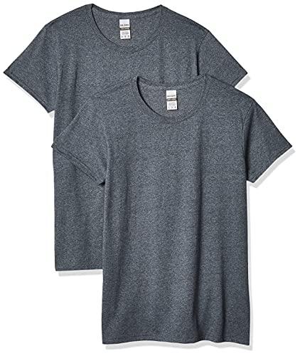 Gildan Women's Heavy Cotton Adult T-Shirt, 2-Pack, Dark Heather, X-Large