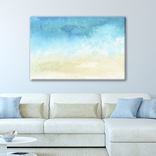 wall26 Canvas Wall Art - Watercolor Painting Style Abstract Seascape - Giclee Print Gallery Wrap Modern Home Art Ready to Hang - 16x24 inches