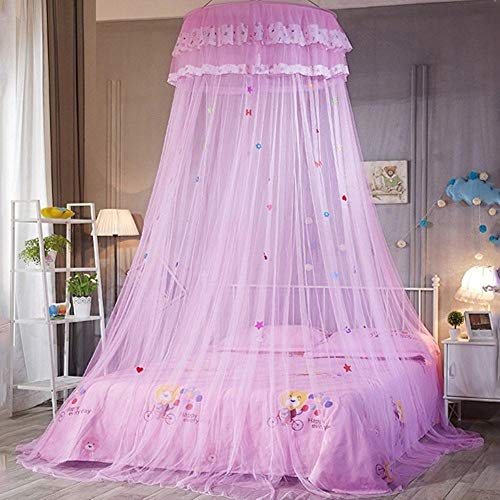 Piner ronde kanten sprei gordijn koepel bed luifel prinses klamboe opknoping kinderen baby beddengoed luifel klamboe, roze