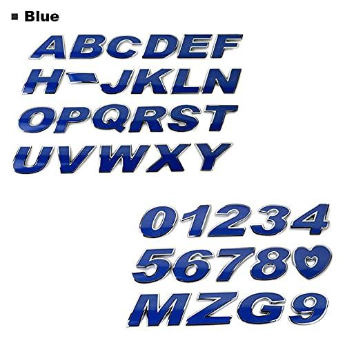 HTTY Etiqueta engomada del automóvil Coloree Letra Alfabeto Número 3D Chrome Emblem Badge 3CM Metal 4 Colores Auto Motocicleta Accesorios DE Accesorios (Color Name : Blue, Style : Heart)