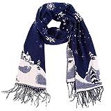 Vbiger Christmas Unisex men women Reversible Winter Scarf Oversized Warm Wrap Shawl Thickened Pashmina with Tassels (Navy Blue)