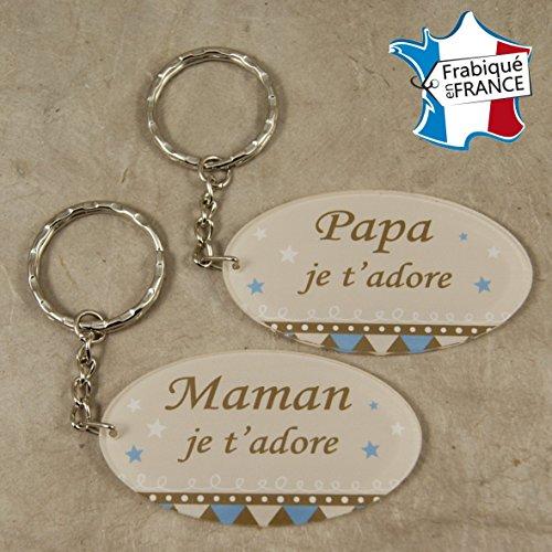 Lot 2 Portes Clefs - 1 Papa + 1 Maman (Cadeau Baptême, fête des mères, fête des pères, anniversaire, Noël …)