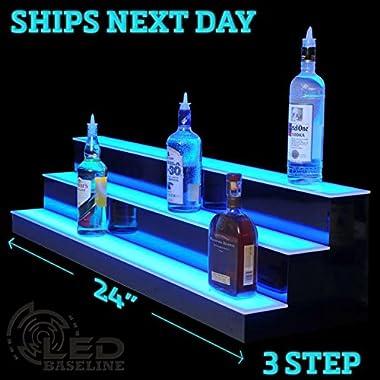 24  3 Step Lighted Liquor Bottle Display Shelf with LED Color Changing Lights