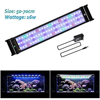 JOYHILL LED Full Spectrum Aquarium Lights,Fish Tank Light with Extendable Brackets,Suitable for Aquatic Reef Coral Plants and Fish Keeping 16W (Fit 50cm-70cm/20-28 inch)