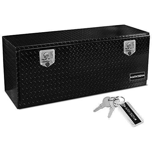 ARKSEN 48' Durable Aluminum Diamond Plate Tool Box With T-Handle Latch Pickup Truck Underbody Trailer Storage, Black