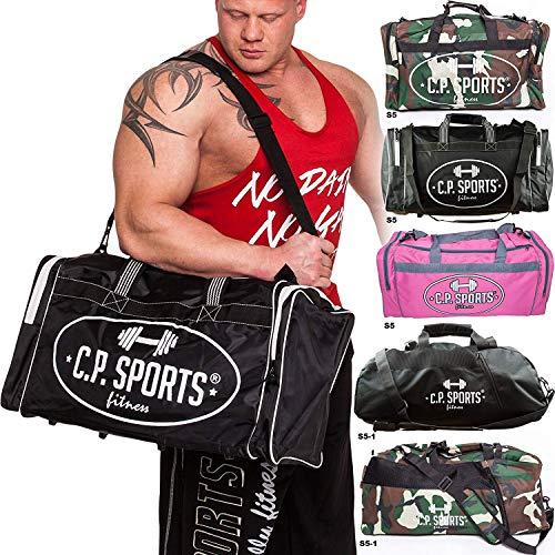 C.P.Sports, borsone sportivo per la palestra o il bodybuilding per uomini e donne, con 4 scomparti e vano per le scarpe, capacità 40, 45, 50 litri, S5-cf, Camouflage-S5