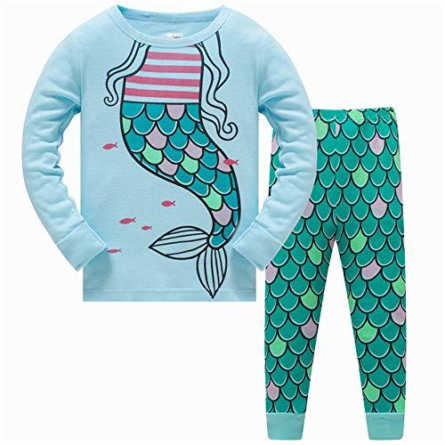 LitBud Niña Niños Pijamas de Navidad Sirena Ropa de Dormir 2 unids Manga Larga Parte Superior + Pantalones PJ Conjuntos para Niños Tamaño 6-7 Años 7T