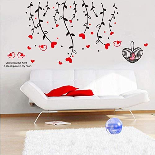 WUDHF Moda DIY Corazón Rojo Amor Flor Vine Cage Pájaro Lindo Pegatinas De Pared Dormitorio Sala De Estar Sofá De Pared Decoración para El Hogar Extraíble Arte Calcomanía