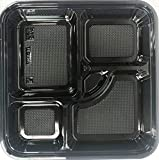 Maple Trade Imperial JT8307 10.55' x 10.55' Large 5-Compartment Bento Box with Lid 100 Sets/Case