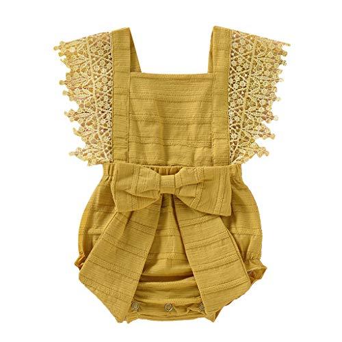 AIni Baby Bekleidung, Mode Elegant Sommer Neugeborenes Baby MäDchen Jungen Fester Spitze Bogen Spielanzug Bodysuit Kleidungs-Outfits BeiläUfiges Strand Kleid Kleidung(90,Gelb)