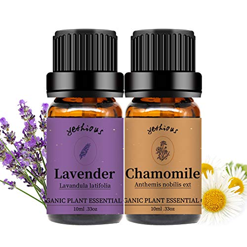 Yethious Chamomile Lavender Essential Oil Set Organic Pure Aromatherapy Massage Oils 2 Pack for Diffuser