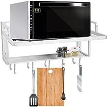 Soporte para microondas, estante de pared para microondas, de aluminio espacial con superficie anodizada, diseño para instalación en cocina y comedor 55 x 38,5 x 25 cm