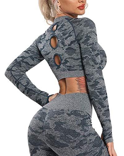 STARBILD Leggings sin Costuras de Cintura Alta Pantalones Deportivo Mallas Ajustadas de Compresión con Control de Abdomen para Mujer para Fitness Yoga Camuflaje Azul-Top M